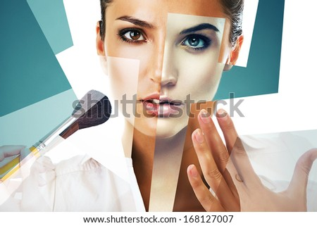 collage portrait of women with brush - stock photo