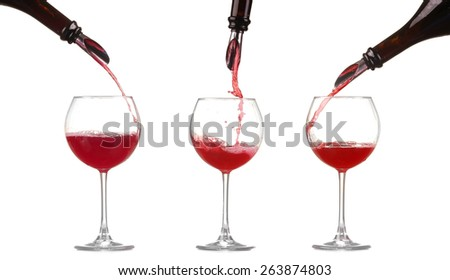 collage red wine pouring into wine glass isolated - stock photo