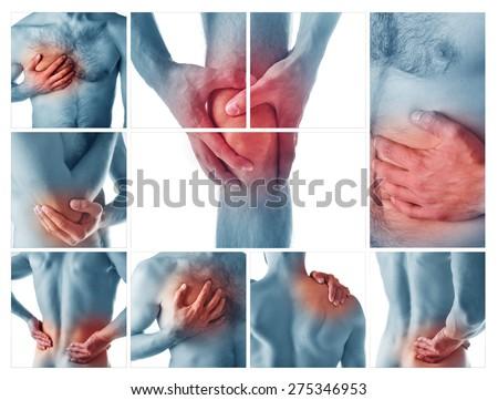 Collage representing man having pain - stock photo
