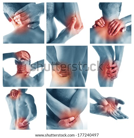 Collage representing man having pain at several part of body - stock photo