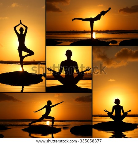 Collage representing woman practising yoga on the beach during beautiful sunset - stock photo