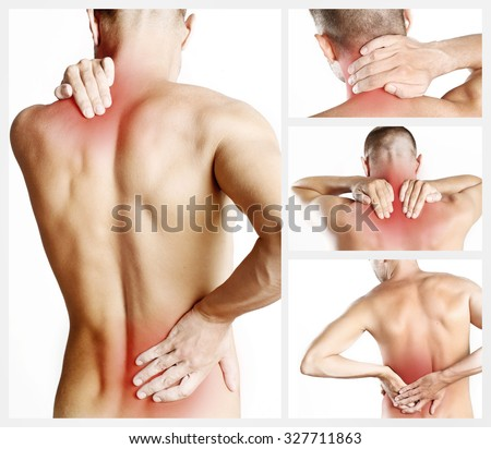 Collage representing young man with back pain  - stock photo