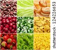 Collage (set) from many tasty  food background photos (vegetables, fruits, berry etc) - stock photo
