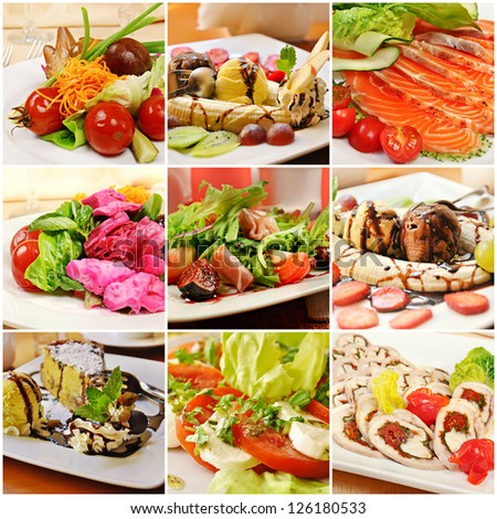 Collage (set) from various kinds of restaurant menu dishes - stock photo