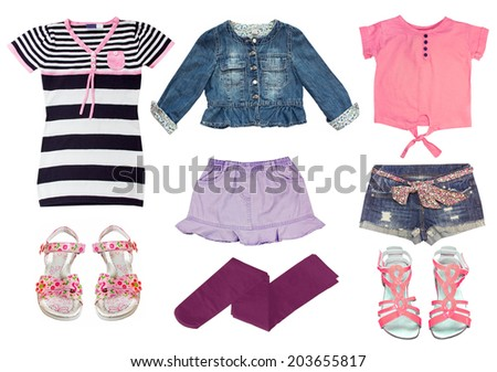 Collage set of girl clothes. Female kid summer clothing wear isolated. - stock photo