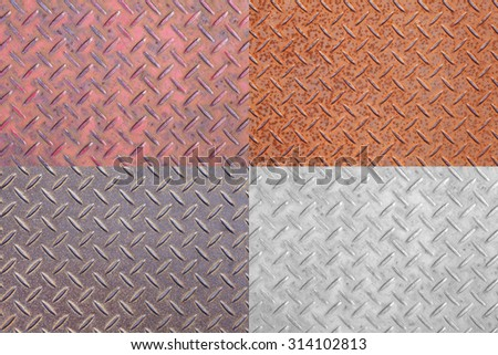 Collage set of Metal plate pattern and background texture - stock photo