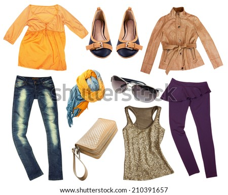 Collage set of women modern autumn clothes. Female apparel isolated. - stock photo