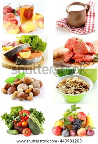 collage set variety of products for a healthy food - stock photo
