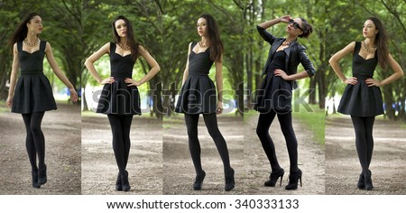 Collage, Sexy Lady in black dress in summer park - stock photo