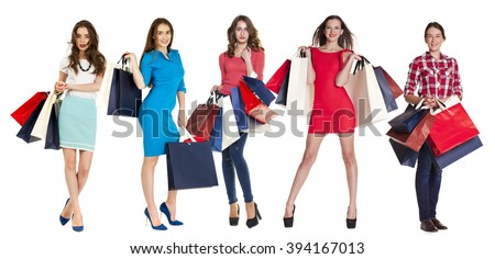 Collage Shopping People, Full length portrait of a beautiful young women posing with shopping bags, isolated on white background - stock photo