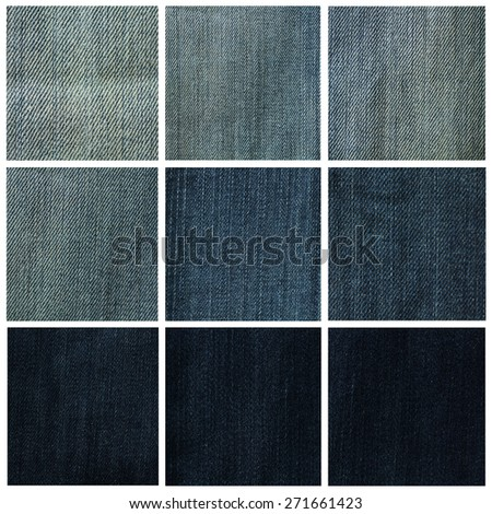 Collage showing a variety of blue denim - stock photo