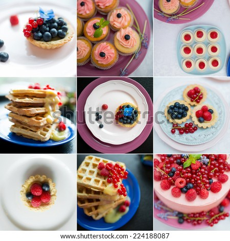 Collage showing delicious and tasty cupcakes  and waffles with berries - stock photo