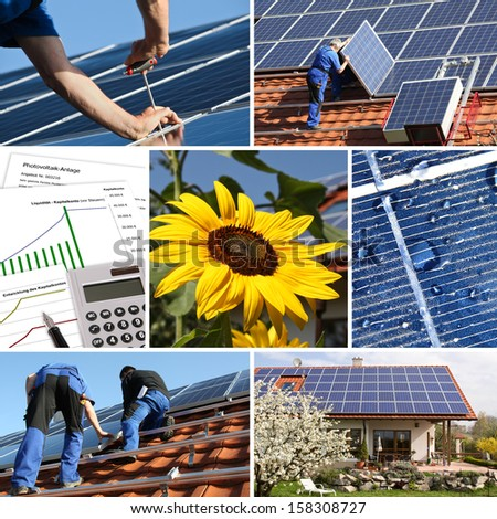 Collage, solar offer and installation - stock photo