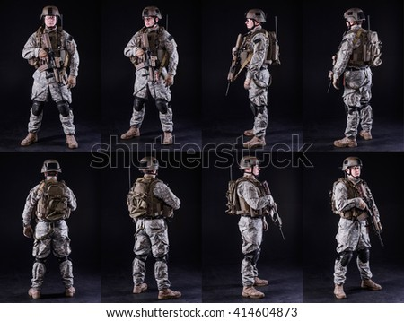 collage,soldier in uniform with gun in  various poses on black background/collage,soldier in uniform with gun - stock photo
