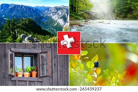 Collage switzerland natural summer landmarks - stock photo