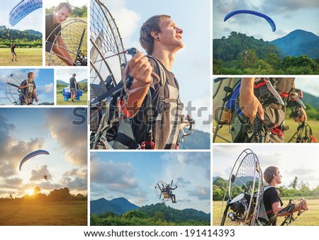 Collage telling story about the man who prepares the equipment and then enjoys his paragliding flight - stock photo
