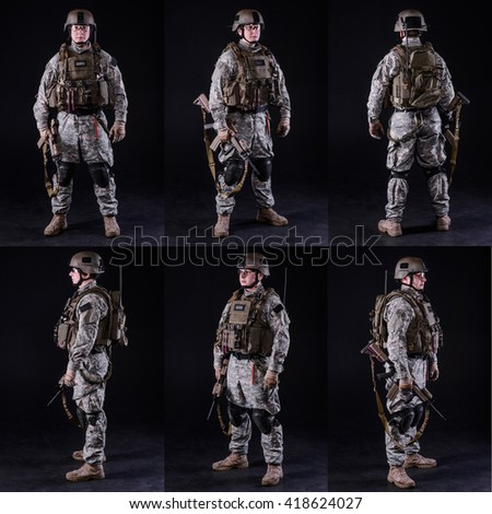 collage,US soldier in uniform with rifle,various poses on black background/US soldier with weapon,collage - stock photo