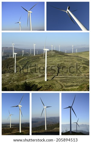 Collage wind and clean energy. Industrial business  - stock photo