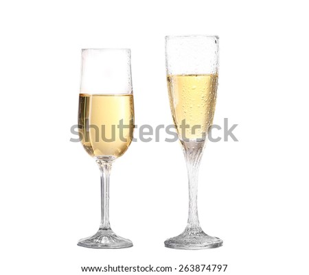 collage Wineglass with white wine. Concept and idea - stock photo