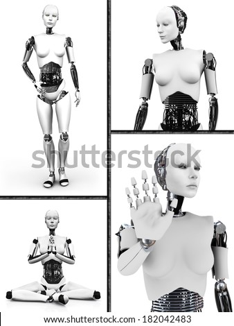 Collage with a female robot. Four different views of the humanoid robot. White background. - stock photo