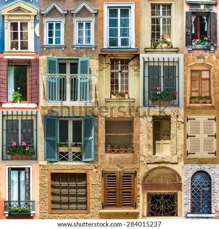 collage with antique windows in Europe - stock photo