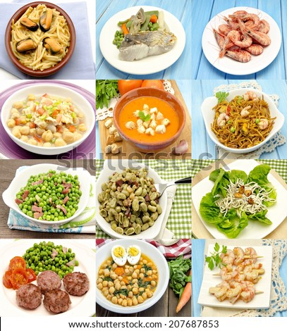 Collage with assortment of cooked - stock photo