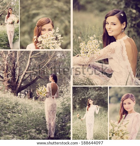 collage with beautiful bride outdoor - stock photo