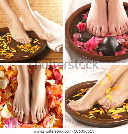 Collage with beautiful legs over spa background - stock photo
