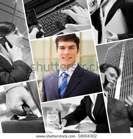 Collage with businessman, calling people and other objects - stock photo