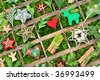 Collage with christmas ornaments in a wooden box - stock photo