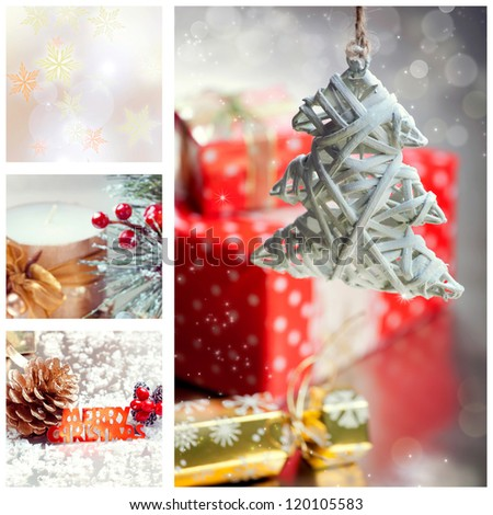 Collage with Christmas tree and decorations with Merry Christmas text - stock photo