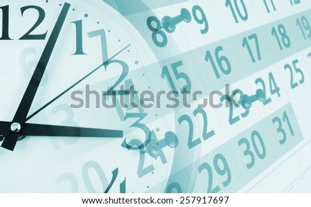 Collage with clock and calendar with pins, time concept  - stock photo