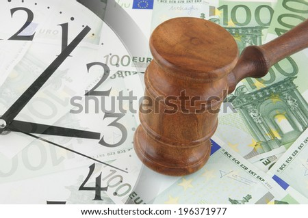 Collage with clock, judge gavel and euro banknotes, business time concept - stock photo