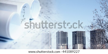Collage with construction plans and a modern building - stock photo