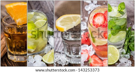 Collage with different Cocktails (flyer size) - stock photo