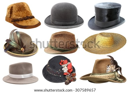 collage with different hats isolated over white background - stock photo