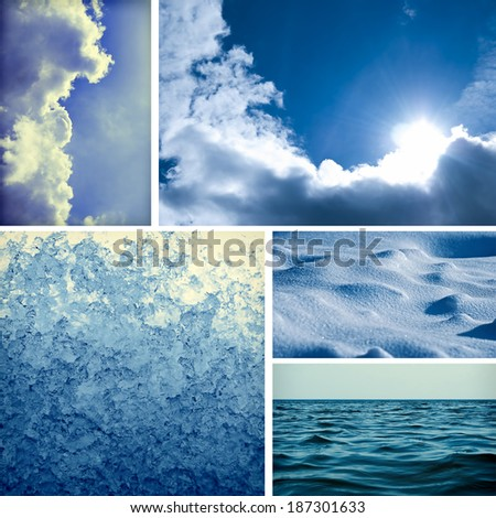 Collage with different natural climatic elements. Sky, clouds, sun, melting snow, snowdrifts, ocean - stock photo