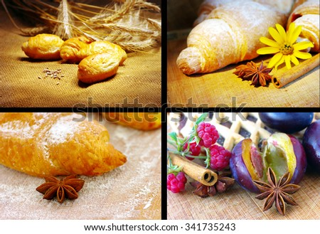 collage with different sweets products - stock photo
