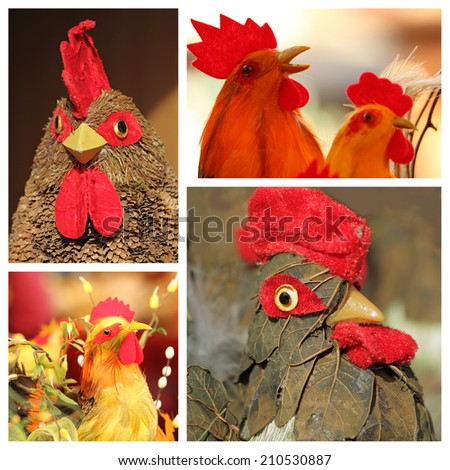 collage  with easter cocks  - decorative figurines - stock photo