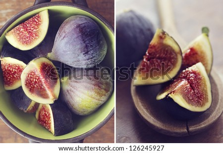 Collage with fresh figs on wooden background - stock photo
