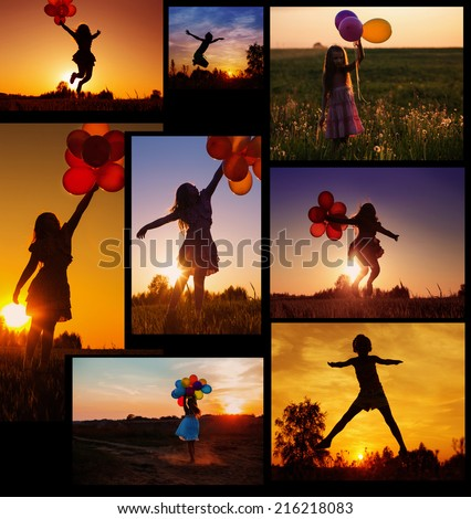 collage with girls at sunset - stock photo