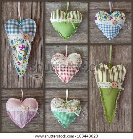 Collage with hearts on wooden background - stock photo