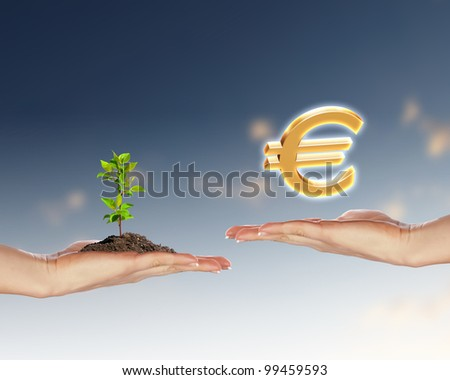 Collage with human hands and ecology symbols - stock photo