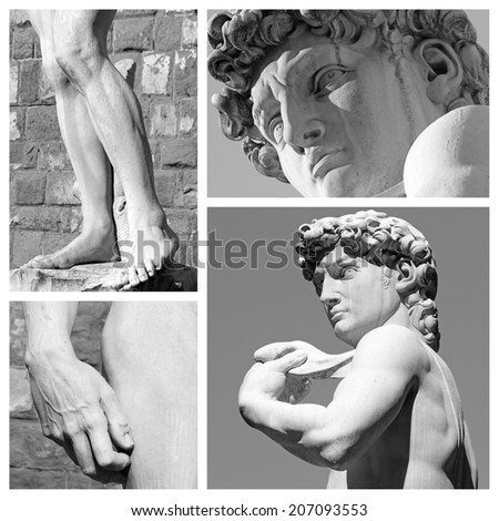 collage with images of David sculpture by Michelangelo, Piazza Signoria,Florence, Tuscany, Italy, Europe  - stock photo
