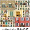 collage with images of retro windows in Italy, Europe - stock photo