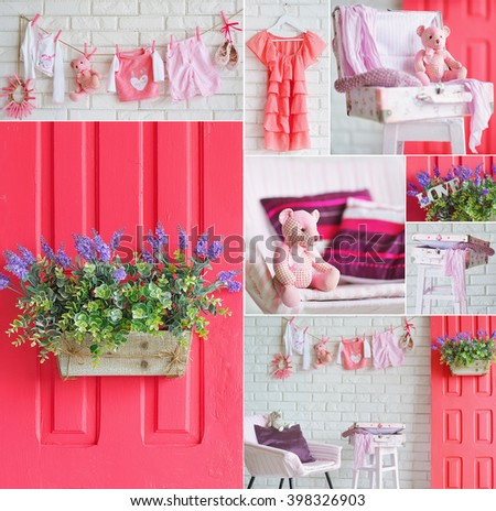 Collage with interior decoration elements and baby clothes in beautiful pink and bright spring colors - stock photo