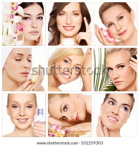 Collage with nine beautiful healthy happy women of different age having beauty treatment. Beauty, health, skincare. - stock photo