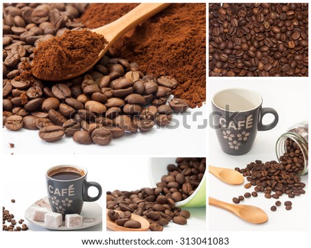 Collage with photos of coffee. - stock photo