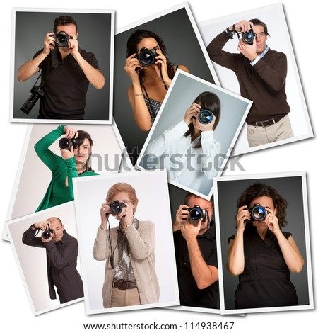 Collage with pictures of different photographers - stock photo