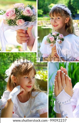 collage with portraits of the girl going to the first holy communion - stock photo